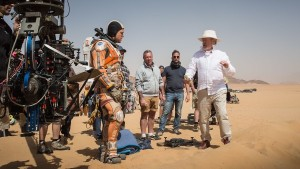 On location in Jordan, Ridley Scott directs Matt Damon, in THE MARTIAN.